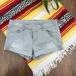 7 For All Mankind Grey Distressed Shorts